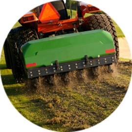 Lawn aeration relieves compaction caused by everyday use of your lawn. We follow up with overseeding to fill in bare or thin spots.